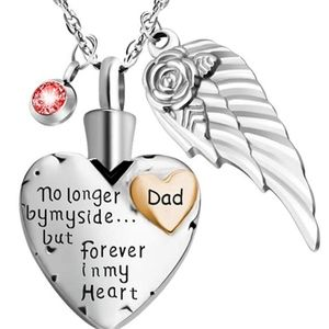 Jewelry - NEW Cremation Dad Heart & Angel Silver Necklace ❤